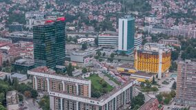 Aerial view of the southern part of Sarajevo city time lapse. stock video