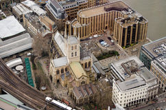 Aerial View of Southwark Cathedral. The historic Southwark Cathedral beside the banks of the River Thames in Central London.  Viewed from a tall building Royalty Free Stock Photo