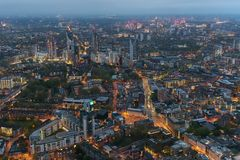 Aerial view of Southwark district in London at dusk. Aerial view of Southwark district in London on a cloudy day at dusk royalty free stock photo