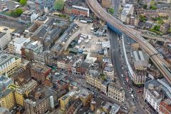 Aerial view of Southwark Street in London. Aerial view of Southwark Street in cental London, UK royalty free stock image