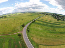 Aerial view of the sown fields near the motorway.  royalty free stock photos