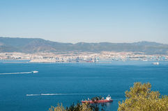 Aerial view of spanish port Algeciras Royalty Free Stock Photography