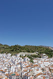 Aerial view of spanish pueblo or town. Aerial view of packed Spanish pueblo or town in Spain in the sun royalty free stock photos