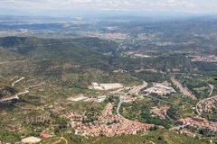 Aerial view at Spanish village near Montserrat in Catalonia Stock Images