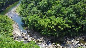 Aerial view of the special  Oxbow terrain - Lingjiao Hill in the water stock footage