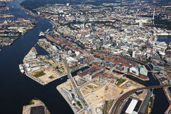 Aerial view of Speicherstadt and Hafencity districts at Hamburg Royalty Free Stock Image
