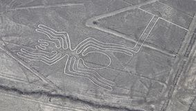 Aerial View of the Spider Nazca Lines. In the Peruvian Desert stock photos