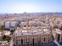 Aerial view on the Spinola Ba. ST.JULIAN`S, MALTA, MAY 15, 2018 - Aerial view on the Spinola Bay with outside pool in St.Julian`s from above - St.Julian`s, Malta Stock Images