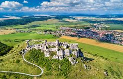 Aerial view of Spissky hrad or Spis Castle, a UNESCO Heritage Site in Slovakia Royalty Free Stock Photos