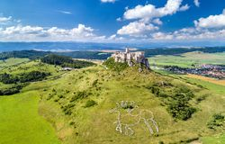 Aerial view of Spissky hrad or Spis Castle, a UNESCO Heritage Site in Slovakia Stock Images