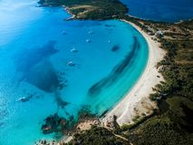Aerial View of the Splendid Rondinara Beach. Corsica, France Stock Images