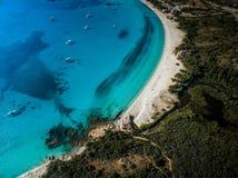 Aerial View of the Splendid Rondinara Beach, Corsica Stock Photo