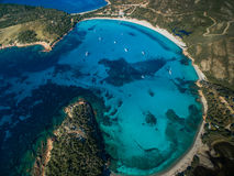 Aerial View of the Splendid Rondinara Beach, Corsica Stock Images
