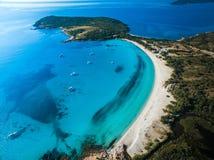 Aerial View of the Splendid Rondinara Beach, Corsica. France Stock Photos