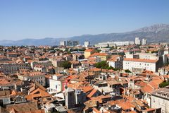 Aerial view of Split city in Croatia. Split is situated in the Mediterranean Basin on the eastern shores of the Adriatic Sea, centred around the ancient Roman royalty free stock image