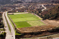 Aerial view of a sport field Royalty Free Stock Photography