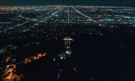 Aerial view of Los Angeles from behind Griffith Park Stock Photography