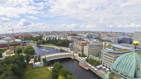 Aerial view of Spree River in Berlin city, Germany stock video footage