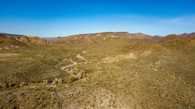 Aerial View Of Spur Cross Ranch Regional Park Near Cave Creek, Arizona. View of rugged hills, mountains, and desert landscape in Spur Cross Ranch Regional Park stock image