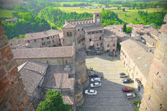 Aerial view of the square of Castell'Arquato, medieval village Royalty Free Stock Images
