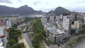Aerial view of the square, Garden of Allah and the beach of Ipanema. Rio de Janeiro Brazil. Aerial view of the square, Garden of Allah and the beach of Ipanema stock video