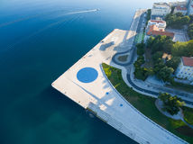 Aerial view of square with a Greeting to the Sun - 22 m diameter circle Royalty Free Stock Photo