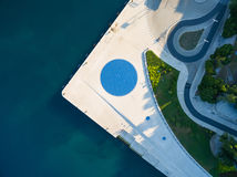 Aerial view of square with a Greeting to the Sun - 22 m diameter circle Stock Image