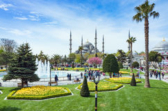 Aerial view square near Blue Mosque in Istanbul Royalty Free Stock Photos