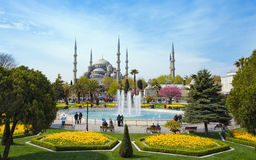 Aerial view square near Blue Mosque in Istanbul Royalty Free Stock Images