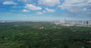 Aerial View of Sri Nakhon Khuean Khan Park and Botanical Garden is located in Bang Krachao, Phra Pradaeng, Samut Prakan Province T stock footage
