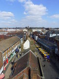 Aerial view of St Albans in Hertfordshire, England. Overlooking the historic city below royalty free stock photos