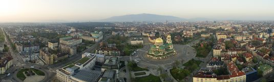Aerial view of St. Alexander Nevsky Cathedral, Sofia, Bulgaria. The biggest orthodox church in Bulgaria, at sunrise stock photo
