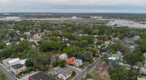 Aerial view of St Augustine, Florida.  royalty free stock photography