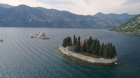 Aerial view of St. George Island near Perast stock footage