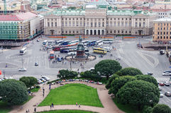 Aerial view of St. Isaac& x27;s Square in St.Petersburg Royalty Free Stock Images