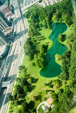 Aerial View of St Louis Missouri. Looking down at the lake park below the gateway arch in St Louis Missouri Royalty Free Stock Photography