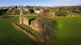 Aerial view. St Mary`s Abbey and Cathedral. Ferns. co Wexford. Ireland Royalty Free Stock Photo