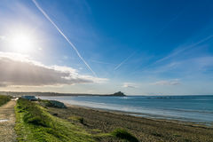 Aerial view of St Michaels mountain near Marazion, Cornwall Royalty Free Stock Photos