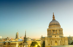 Aerial view of St Paul Cathedral at sunset - London Stock Image