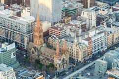 Aerial view of St Paul's Anglican Cathedral in Melbourne Stock Photos