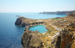 Aerial view on St. Paul's bay in Lindos. (Rhodes island royalty free stock photography