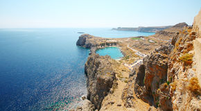Aerial view on St. Paul's bay in Lindos Stock Images