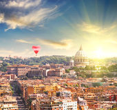 Aerial View of St. Peter's cathedral in Rome, Italy at spring sunset Stock Photo