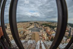Aerial view St Peter Square Piazza San Pietro stock images