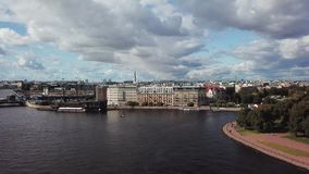 Aerial view of St. Petersburg Russia. Flying over the city center, river Neva, Peter and Paul fortress, wooden ship and stock video