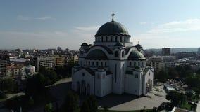 St. Sava temple, Belgrade, aerial view. Aerial view of St. Sava temple, Belgrade, may 2018 stock video