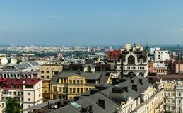 Aerial view from St. Sophia Cathedral on buildings of historical center of Kiev. Kyiv, Ukraine – May 30, 2019: Aerial view from St. Sophia Cathedral on stock image