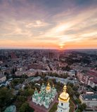 St. Sophia Cathedral at sunset in Kiev, Ukraine. Aerial view of St. Sophia Cathedral at sunset in Kiev, Ukraine. Tourist Sight. Ukrainian baroque royalty free stock photography