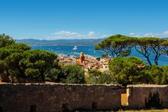 Aerial view of St Tropez old town clock tower and harbor from the citadel stock image