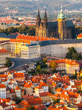 Aerial view of St Vitus Cathedral and Castle in Prague from Petrin Hill Observation Tower in Czech Republic Royalty Free Stock Image